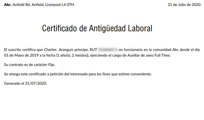 Qué es el certificado de Antigüedad Laboral